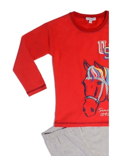 U.S. Polo Assn. Us Polo Assn Lisanslı Kız Çocuk Pijama Takımı Lacivert Kırmızı